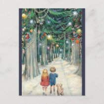 Vintage Children Walking Through Christmas Trees Holiday Postcard
