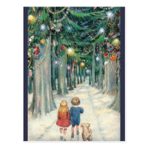 Vintage Children Walking Through Christmas Trees Postcard