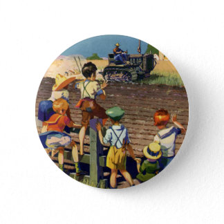 Vintage Children Waving to Local Farmer on Tractor Button