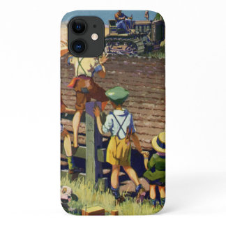 Vintage Children Waving to Local Farmer on Tractor iPhone 11 Case