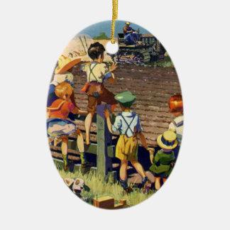 Vintage Children Waving to Local Farmer on Tractor Ceramic Ornament