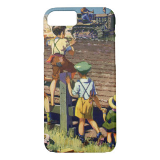 Vintage Children Waving to Local Farmer on Tractor iPhone 8/7 Case