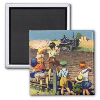 Vintage Children Waving to Local Farmer on Tractor Magnet