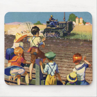 Vintage Children Waving to Local Farmer on Tractor Mouse Pad