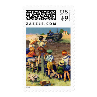 Vintage Children Waving to Local Farmer on Tractor Postage