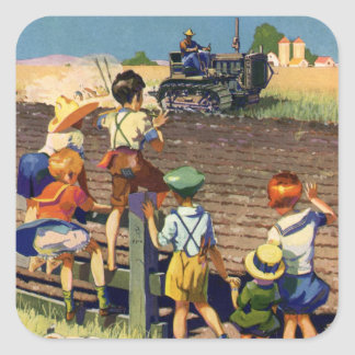 Vintage Children Waving to Local Farmer on Tractor Square Sticker