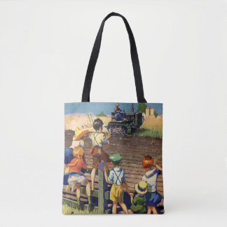 Vintage Children Waving to Local Farmer on Tractor Tote Bag