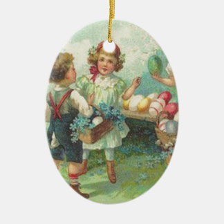 Vintage Children With Easter Eggs Easter Card Double-Sided Oval Ceramic Christmas Ornament