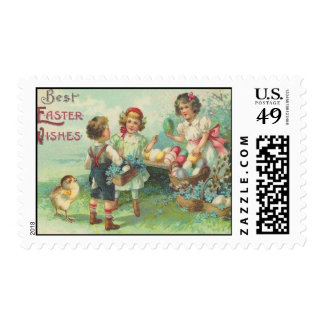 Vintage Children With Easter Eggs Easter Card Postage