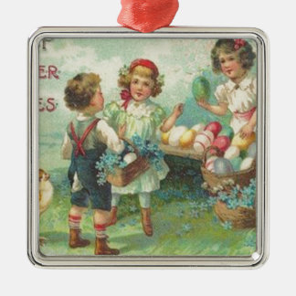 Vintage Children With Easter Eggs Easter Card Square Metal Christmas Ornament