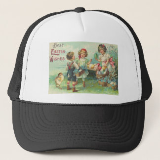 Vintage Children With Easter Eggs Easter Card Trucker Hat