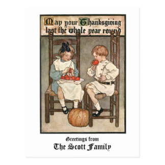 Vintage Children with Thanksgiving Greeting Postcard