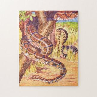 Vintage Childrens Book Illustration Snakes Jigsaw Puzzle
