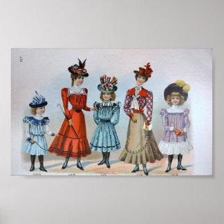 Vintage Children's Fashion 1890's Poster