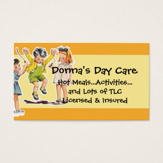 Vintage Children's Illustration Day Care Services Business Card