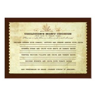 vintage children's menu choice for wedding card