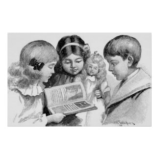 Vintage Children's Reading Collection Poster
