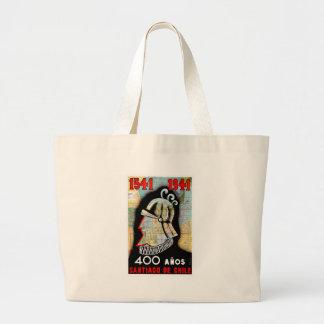 Vintage Chile Santiago Travel Jumbo Tote Bag