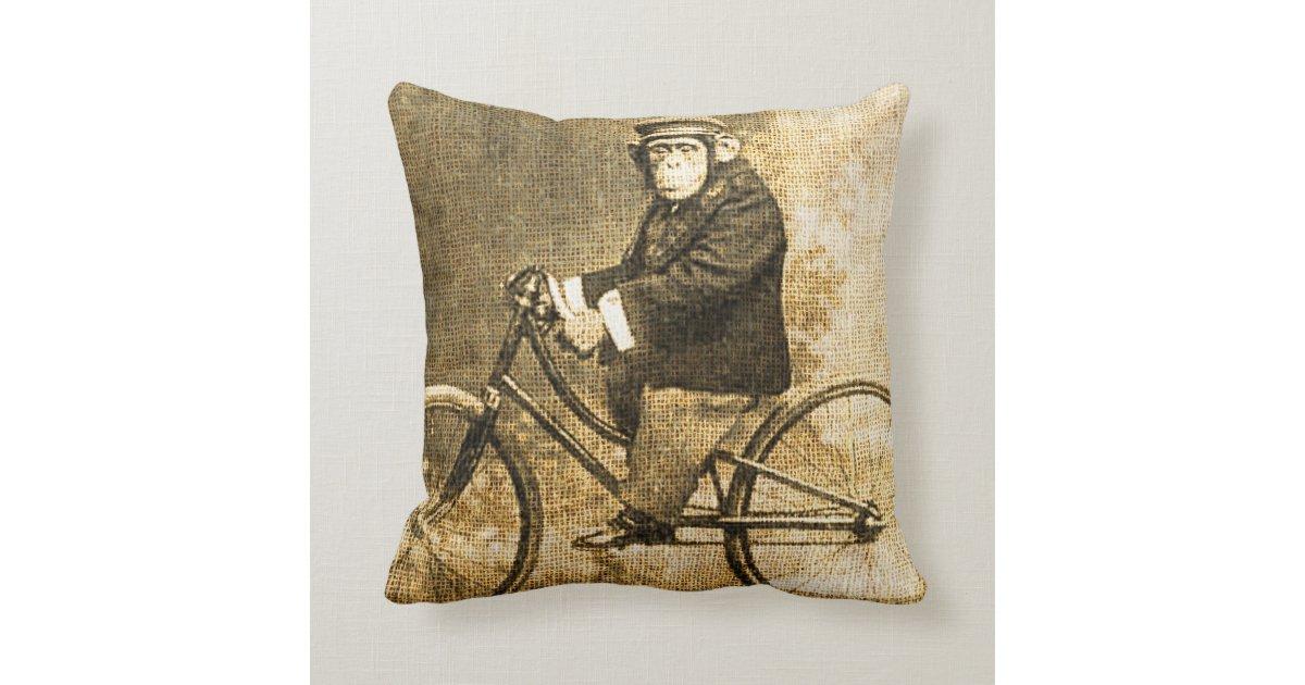 Throw Pillows With Bikes : Vintage Chimpanzee on a Bicycle Throw Pillows Zazzle