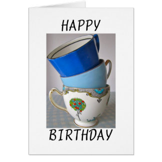 Vintage China Cups Happy Birthday Card