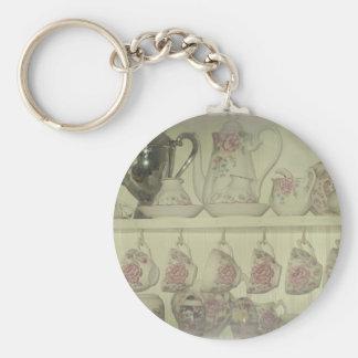 Vintage China Display Basic Round Button Keychain