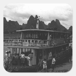 Vintage China Guilin river boat 1970 Square Sticker