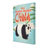 Vintage China Panda Vacation Poster Canvas Print