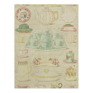 Vintage China Teacups Teapot Shabby Kitchen Decor Postcard