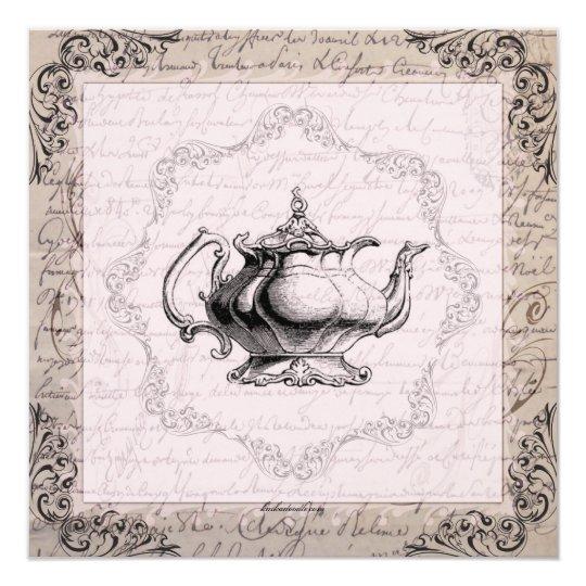 Vintage China Teapot Bridal Shower Tea Party Card