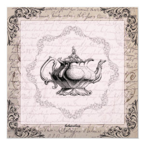 Vintage China Teapot Bridal Shower Tea Party Invite