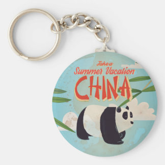 Vintage China Vacation Poster Keychain