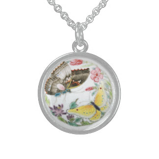 Vintage Chinese Art Butterflies Sterling Silver Round Pendant Necklace