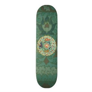 Vintage Chinese Blue Green Land Sea Air Horses Skateboard