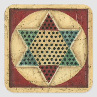 Vintage Chinese Checkerboard by Ethan Harper Square Sticker