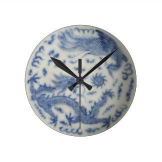 Vintage chinese dragon monaco blue chinoiserie round wallclock