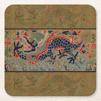 Vintage Chinese Dragon Symbol of Strength Square Paper Coaster