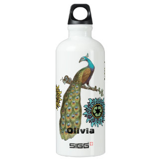 Vintage Chinese Flower Peacock Recycle Peace Sign Water Bottle