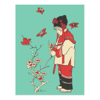 Vintage Chinese Girl Picking Blossoms Postcard