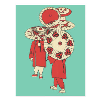 Vintage Chinese Girls and Paper Umbrellas Postcard
