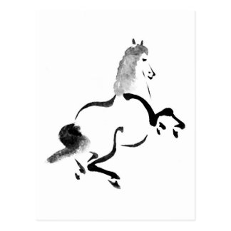 Vintage Chinese Horse, Black and White Postcard
