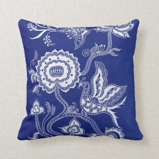 Vintage Chinese Indigo Batik Throw Pillow