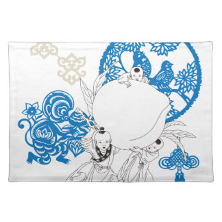 Vintage Chinese Pattern with Monkey and Children Cloth Placemat