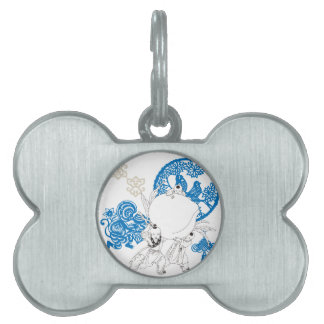 Vintage Chinese Pattern with Monkey and Children Pet ID Tag