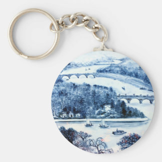 vintage chinese porcelain picture keychain