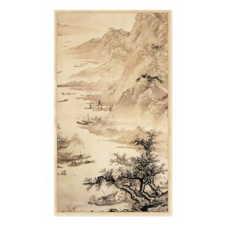 Vintage Chinese Sumi-e painting landscape scenery Business Card Template