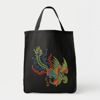 Vintage Chinese Wealthy Peacock Colorful Tattoo Tote Bag