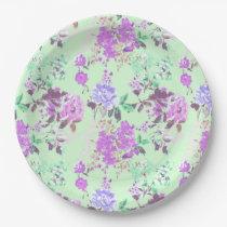 Vintage Chintz Floral Pattern Mint Green Purple Paper Plate