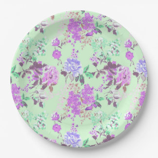 Vintage Chintz Floral Pattern Mint Green Purple Paper Plate