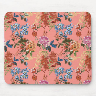 Vintage Chintz Floral Pattern on Coral Background Mouse Pad