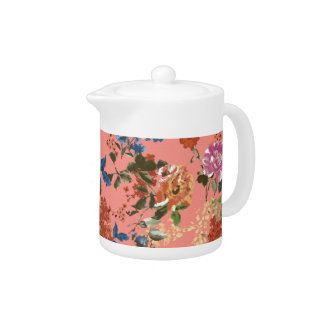 Vintage Chintz Floral Pattern on Coral Background Teapot